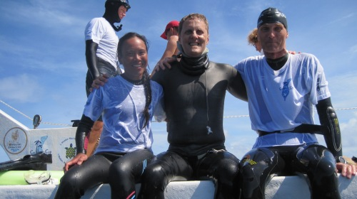 William, Natalie and Soren after the dive