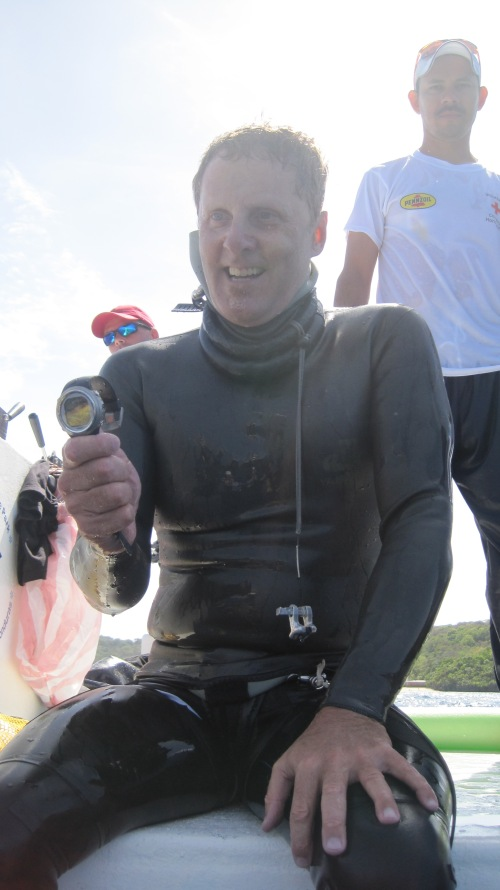 William Winram after his 94 m bi-fins dive